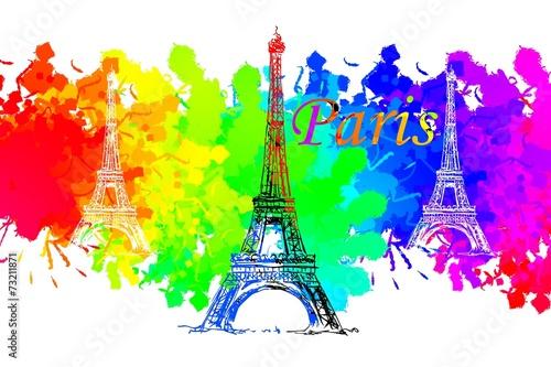 Poster Castle Paris art design illustration