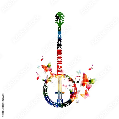 Colorful banjo design Canvas Print