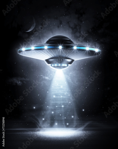 UFO in dark night плакат