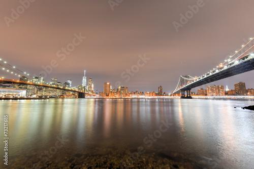 Brooklyn Bridge Park at night Poster