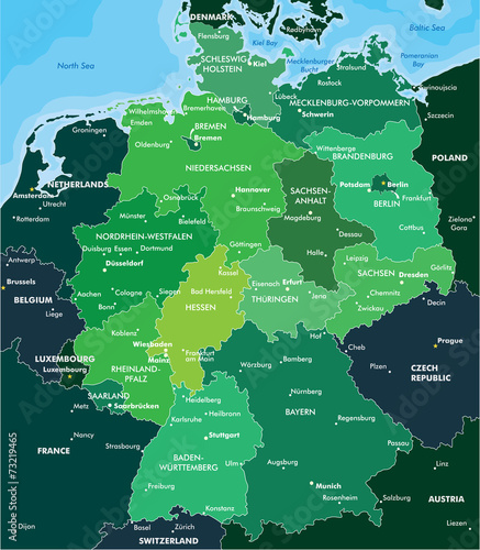 Fotografie, Obraz Color map of Germany