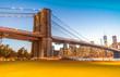 Beautiful view of Brooklyn Bridge and Manhattan skyline from Bro