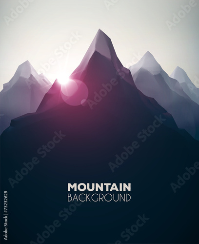 Deurstickers Zwart Mountain Background