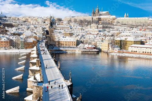 Prague castle and Charles bridge, Prague, Czech republic Poster
