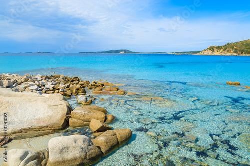 Photo  Rocks in sea water of Punta Molentis bay, Sardinia island