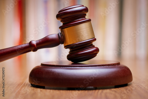 Photo  Close up Wooden Law Gavel on the Table