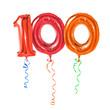 Leinwanddruck Bild - Rote Luftballons mit Geschenkband - Nummer 100