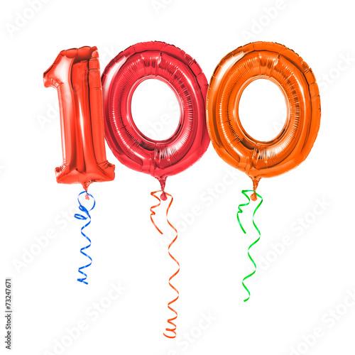 Fotografía  Rote Luftballons mit Geschenkband - Nummer 100