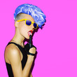 canvas print picture - disco punk fashion style club party girl