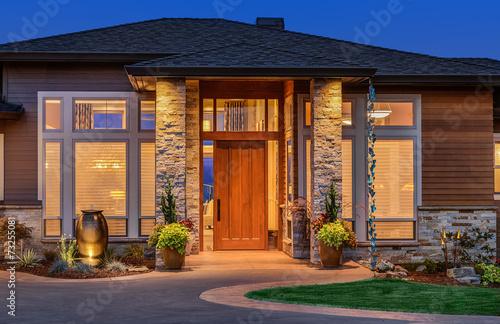 Fotografie, Obraz  Elegant front door of home with welcome mat
