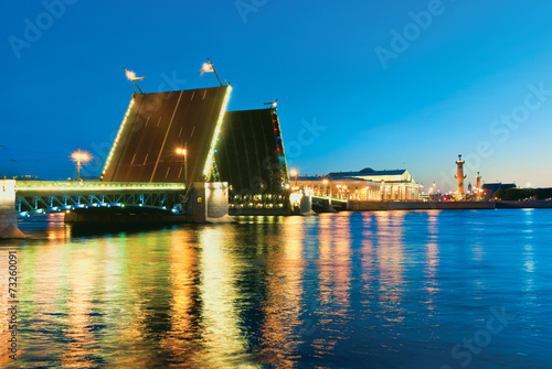 Palace Bridge. White nights in St.-Petersburg, Russia Canvas Print