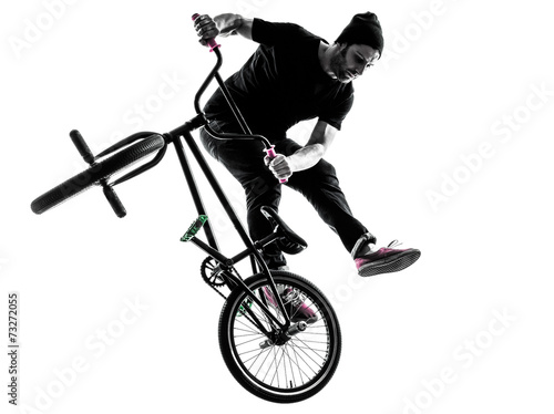 man bmx acrobatic figure silhouette Canvas Print
