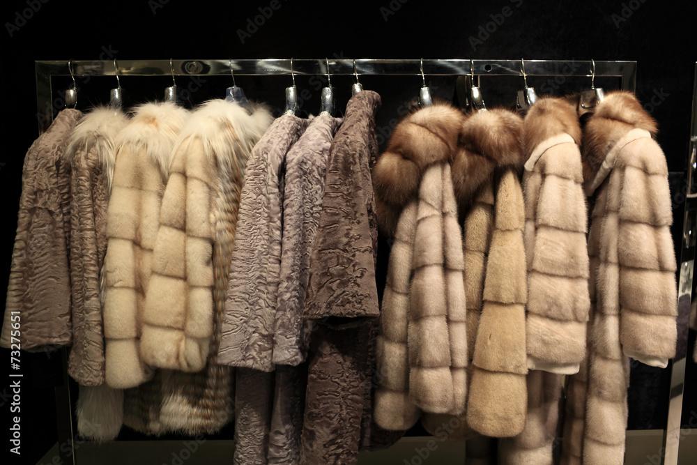 Fototapeta Various fur coats