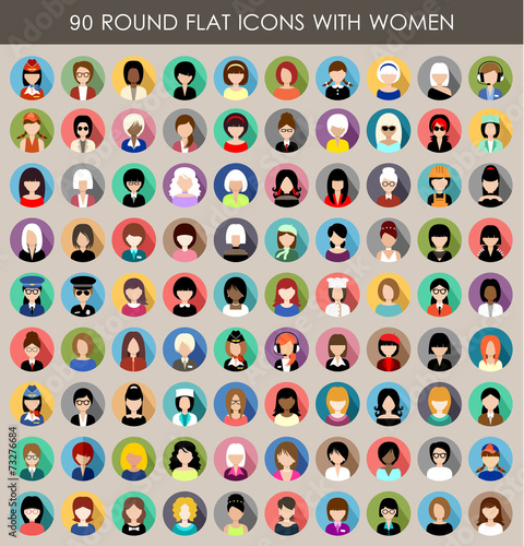 Set of round flat icons with women. Wall mural