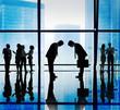 Leinwanddruck Bild - Japanese Business People Bowing Down Office