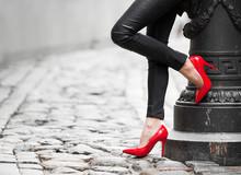 Woman Wearing Red High Heel Sh...