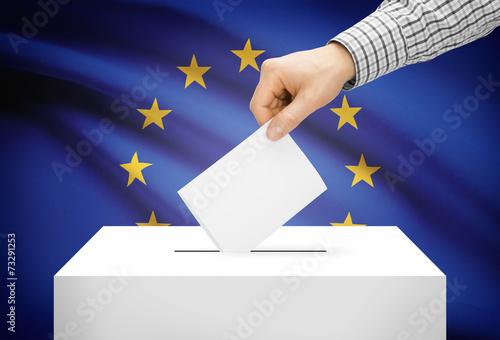 Valokuva  Ballot box with national flag on background - European Union