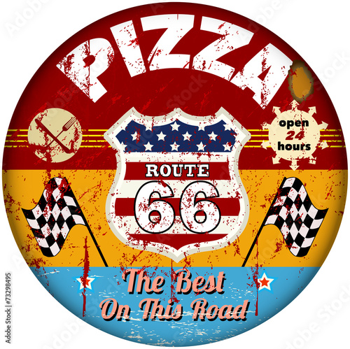 route 66 pizzeria sign, retro style, vector