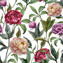FototapetaBeautiful vector watercolor pattern with peonies on white fon3