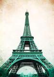 Wieża Eiffla - retro pocztówka stylizowana. - 73307411