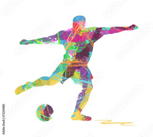 Fotografie, Tablou  silhouette di calciatore composto da colori