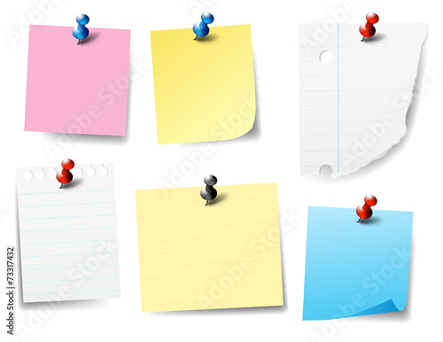Fotografie, Obraz  Pinned Paper Notes - Post it, Labels,