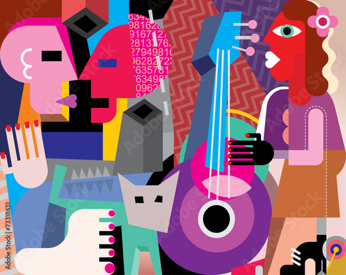 Obrazy Picasso  the-dancing-couple-and-woman-playing-guitar
