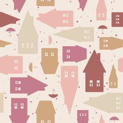 Tapeta Seamless pattern with houses and umbrellas