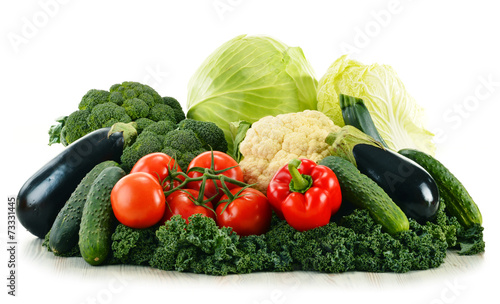 Tuinposter Groenten Assorted raw organic vegetables isolated on white