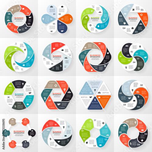 Photographie  Flèches infographiques, diagramme, étapes, 6 options