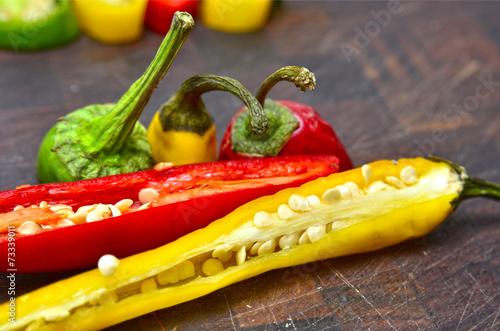 Staande foto Hot chili peppers Guindillas de colores