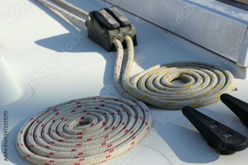Foto op Plexiglas Water Motor sporten Coiled Ropes on a Yacht's Deck