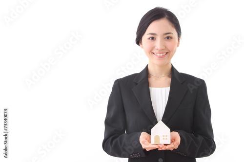 Valokuva  Asian businesswoman on white background