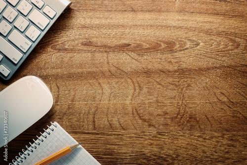 Fototapeta Devices, Pencil and Notes on Desk with Copy Space obraz na płótnie