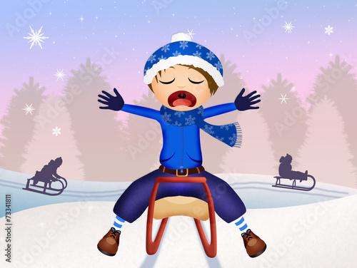 Fotografie, Obraz  child on sleigh in winter