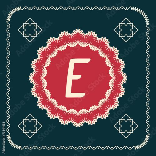Fototapeta Vector square cards with letters of the alphabet E obraz na płótnie
