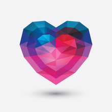 Crystal Heart Icon. Glass Love...