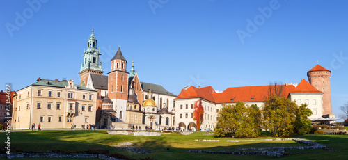 Panoramic view of Royal Wawel Castle in Krakow #73357622