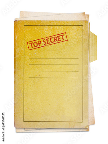 Fotografie, Obraz Old folder with top secret stamp.