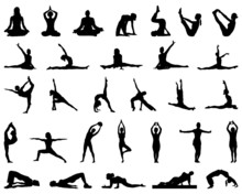 Silhouettes Of Yoga And Fitnes...