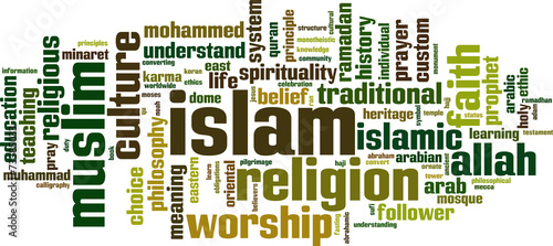Photo  Islam word cloud concept. Vector illustration
