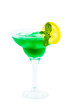 glass with green cocktail isolated on white background