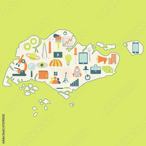 Photo  Map of Singapore with technology icons
