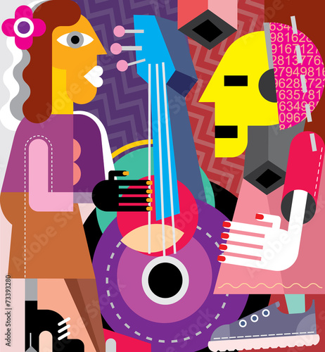 Canvas Prints Abstract Art Musicians