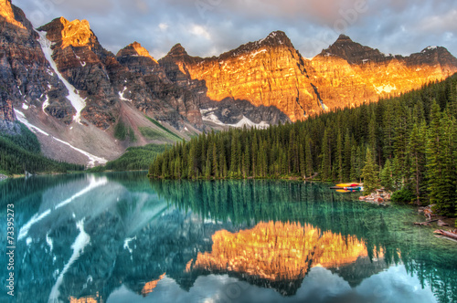 Acrylic Prints Green blue Moraine Lake in Canada