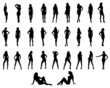 Silhouettes of beautiful girls, vector