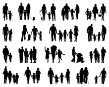 Black Silhouettes Of Families,...