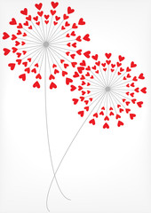 Naklejka vector dandelions with hearts