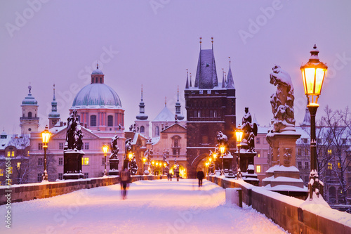 Photo  Charles bridge, Old Town bridge tower, Prague (UNESCO), Czech r
