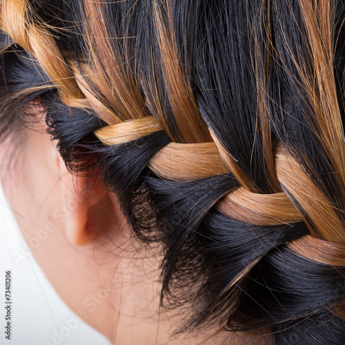 Fotografia, Obraz  braid long hair style on woman head